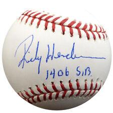 "RICKEY HENDERSON AUTOGRAPHED MLB BASEBALL A'S ""1406 SB"" STEINER HOLO 112668"