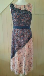 MONSOON CHAMBRAY BLUE PINK FLORAL LACE PANEL KNIFE EDGE PLEATED DRESS 12 40 NEW