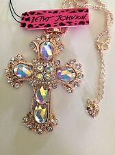 "PRETTY CRYSTAL CROSS 28"" Pendant Necklace Betsey Johnson+"