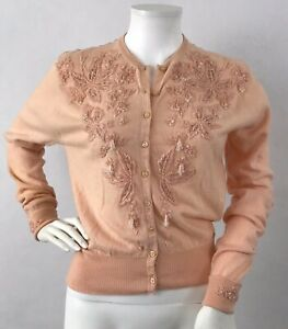 Vintage 1950/'s Embroidered Cardigan Size SM 50/'s Cashmere Sweater