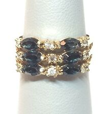 Costume Jewelry Faux Blue & White Stone Multi-Row Ring - Sz 6