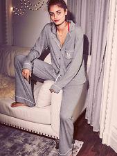 Victoria's Secret Grey Sleepover Long Top Trousers Knit Pyjama Pajama ladpj103