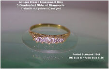 18ct Gold DIAMOND Old-Cut 5 stone Boat Shape Ring Antique Victorian UK K Bargain