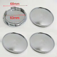 4Pcs/Set 68mm Chrome Silver Universal Car Wheel Center Hub Caps Covers No Logo