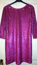 Stunning Womens deep pink sequinned Tunic/dress by Next size 12