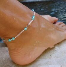 Turquoise Bead Anklet Bracelet 17-2 Women's Fashion Jewelry 925 Silver Plated