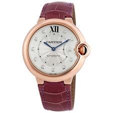 Cartier Ballon Bleu Silver Dial 18kt Rose Gold Purple Leather Unisex Watch