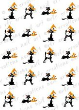 20 HALLOWEEN NAIL DECALS * BLACK CAT w/ WITCH HAT * WATER SLIDE NAIL ART DECALS