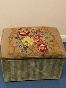 Vintage Tapestry stool seating and storage  Box Handmade 1960's