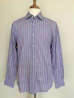 BUGATCHI UOMO Men's Button Down Dress Shirt In Purple White Size XL