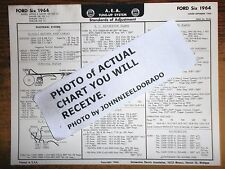 1964 Ford SIX Series Custom, Fairlane & Galaxie Models AEA Tune Up Chart