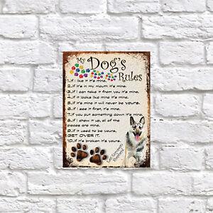 My dog's Rules East European Shepherd Theme Theme Tin metal sign, Novelty gift