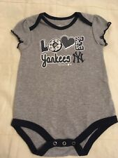 """Baby Girl """"LOVE Yankees NY"""" Gray/Blue Cotton Onies 18 Mos."""