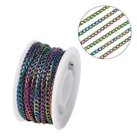 5m/Roll 304 Stainless Steel Flat Curb Chains 18-Gauge Twisted Rainbow 3mm WID