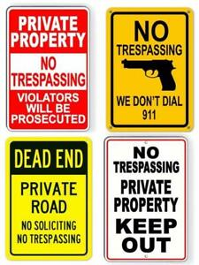 Metal Tin Warning Sign Beware Caution No Trespass Private Property Dead End OUT