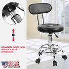 Rolling Adjustable Height Swivel Round Stool Tattoo Spa Salon Bar Barber Chair