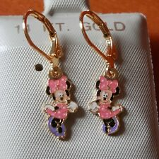 14K Gold Filled PINK MINNIE MOUSE hanging Earrings / Teenager / Little Girl  USA