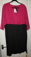 BNWT LADIES BLACK & PINK COLOUR BLOCK DRESS PLUS SIZE 32