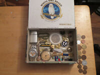 JUNK DRAWER OLD MILITARY LOT PINS OLD COINS WATCHES LOT LIGHTER OLD POCKET WATCH