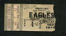 1978 Eagles Joe Walsh Jesse Winchester Concert Ticket Stub Buffalo Ny