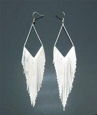 Super glam Silver tone Party Chandelier fringe Earrings 1.25inch W 5inch H