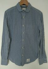 """Superdry Blue & White Check Cotton Long Sleeve Shirt Size Small P2P 19"""" VGC"""