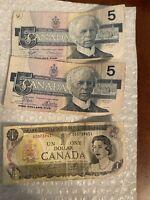 LOT OF 3 CANADA CANADIAN  BILLS $11 DOLLAR NOTES  1973 1986 Low $1 Serial 739451