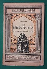 < L4 > LUCREZIO DE RERUM NATURA A CURA DI ENRICO AGUGLIA ANNO 1847