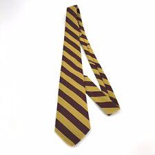 Castle Neckwear Necktie Yellow And Burgundy 100% Polyester VTG