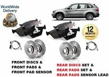 FOR BMW X5 E70 3.0 2007-09 FRONT & REAR BRAKE DISC SET & DISC PAD + SENSOR LEAD