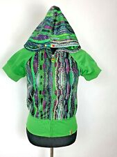 Coogi Hoodie size S Womens Full Zip Rainbow Logos Spell Out SS Green Jacket