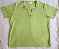 lovely bright-green short-sleeved sequinned top from Casual Comfort, size 14