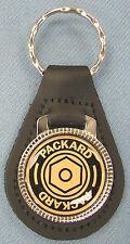 Vintage PACKARD Large Emblem Black Leather Chrome Keyring 1940 1941 1942 1943