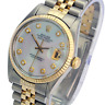 Rolex Mens Datejust 16013 Two-tone 36mm White MOP Dial 18K Gold Bezel Watch
