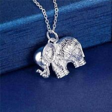 925 Sterling Silver Plated Elephant Pendant Necklace Lucky UK