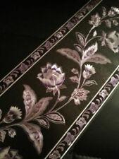 wunderschöne Barock Bordüre schwarz Lila Blumen 5m lang 17,7 cm breit