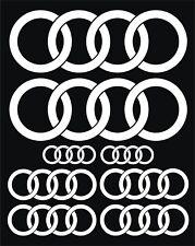 Conjunto completo de 8 piezas: Audi Anillos Adhesivos calcomanías en color blanco brillante