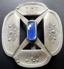 antique BIG arts & crafts Edwardian blue glass belt buckle silver tone -A221