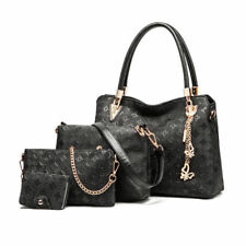 Womens DESIGNER Handbag Set Leather Shoulder Messenger Tote Purse Ladies Bag Black