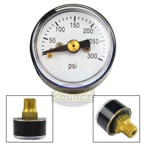 "1/8"" MNPT Mini Micro Air Pressure Gauge 0-300 PSI 1"" Face CBM Center Back Mount"
