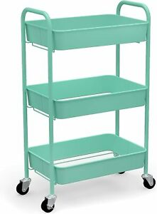 3-Tier Rolling Metal Storage Organizer - Mobile Utility Cart with Caster Wheels