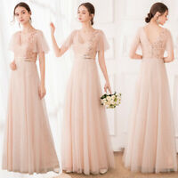 Ever-Pretty Sequins V Neck Long Evening Prom Dress A-Line Wedding Party Gowns US