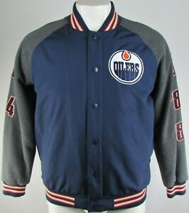 Edmonton Oilers NHL G-III Men's 5X Stanley Cup Champs Button-Up Varsity Jacket