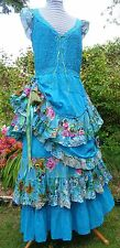 HIPPY PAGAN FESTIVAL PIXIE GYPSY quirky bustle hitch skirt corset dress L/XL