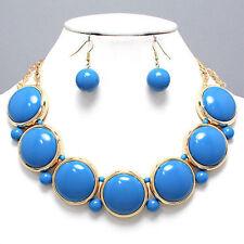 Chunky Cabichon Style Necklace & Earrings Set, Black Blue Orange Lime