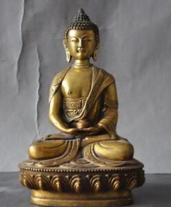 Antique Bronze Medicine Buddha Statue old tibetan buddhism brass gilt sakyamuni