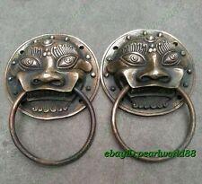 En cuivre ancien statue une paire Lucky Foo Chien Lion RARE porte archaïque Knocker 7 cm
