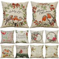 Christmas Gift Waist Pillow Birds Throw Cushion Cover Decor Home 18'' Case Xmas