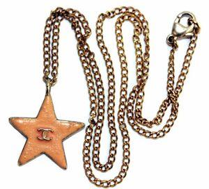 CHANEL CC Logo Peach Star Pendant Gold Tone Chain Necklace Rare Vintage Auth