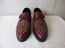 DR MARTENS 'DAYTON' OXBLOOD RED BURGUNDY STUDDED CREEPERS BUCKLE SHOES - UK 11